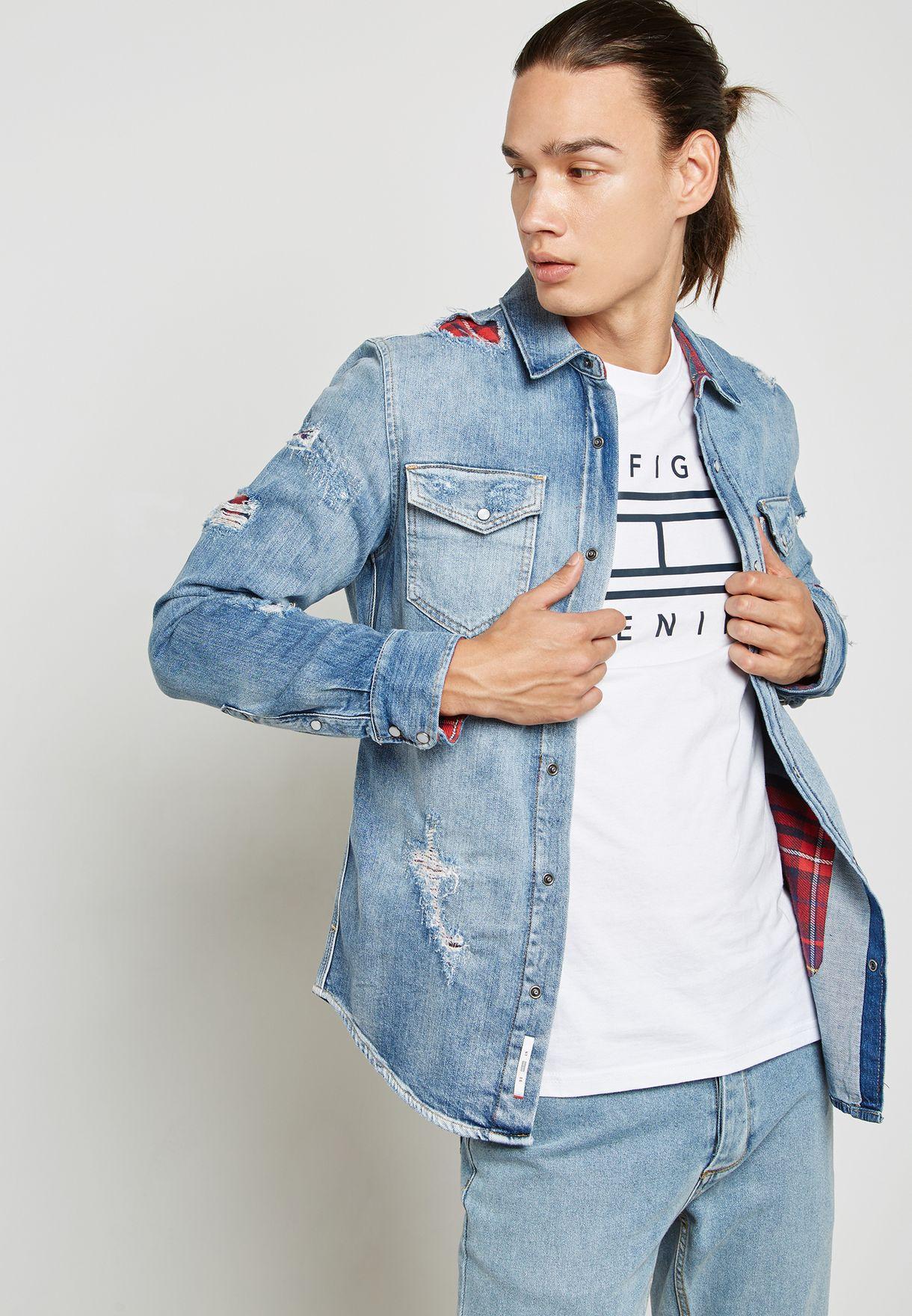 4dedc77626 Shop Tommy Jeans blue Denim Shirt DM0DM03045911 for Men in UAE ...