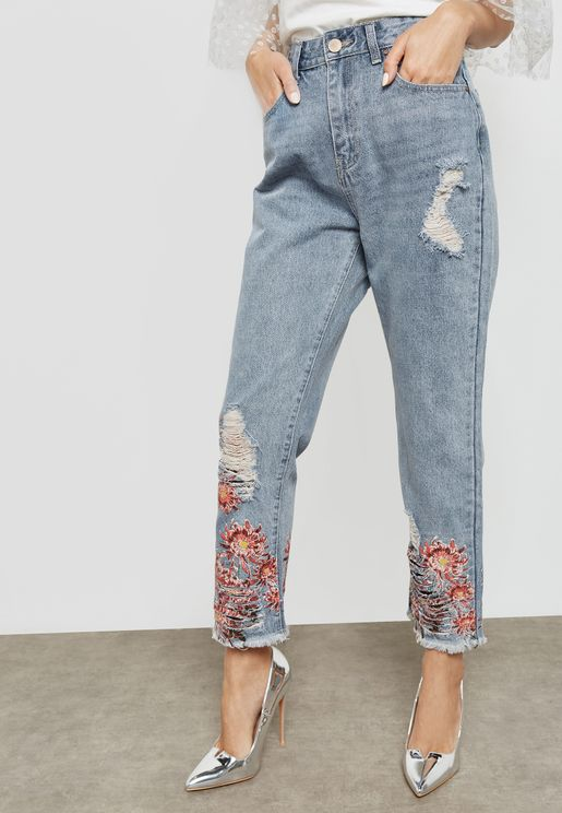 Floral Print Hem Pants