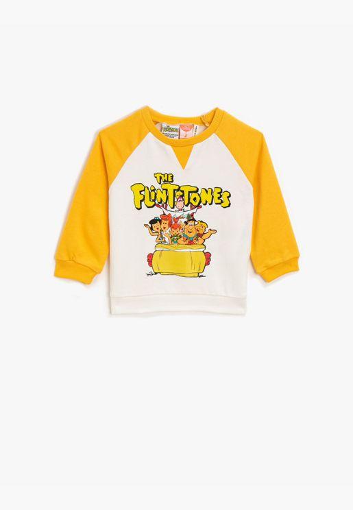 The Flintstones Licensed Printed Crew Neck Cotton Sweatshirt