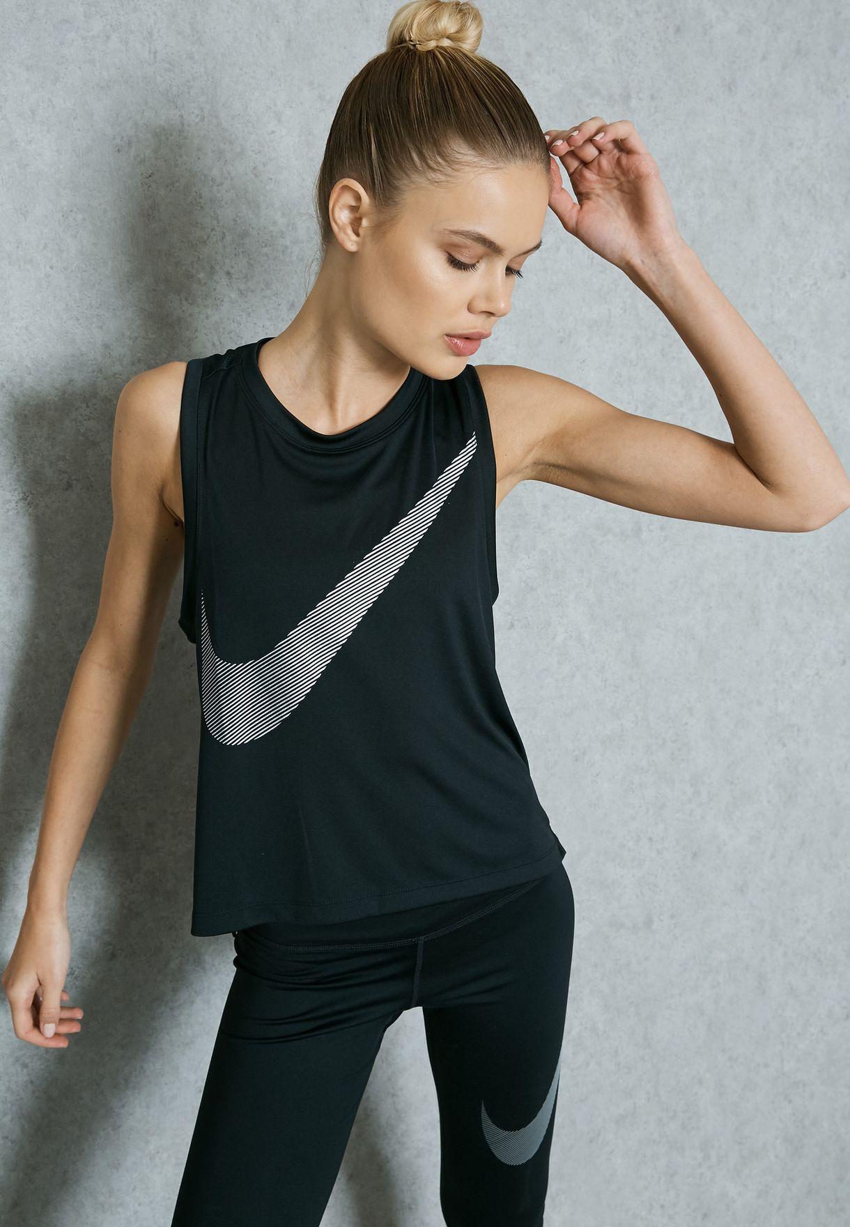 580506f6169d3 Shop Nike black Dri-FIT City Core Tank Top 836793-010 for Women in ...