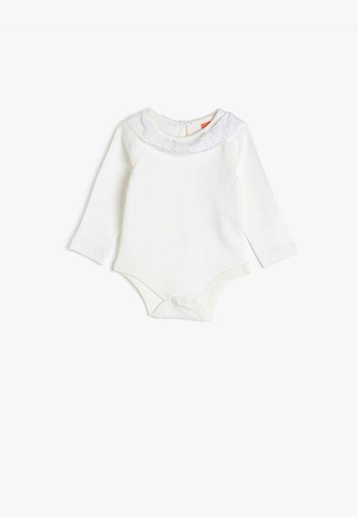 Cotton Long Sleeve Lace Bodysuit