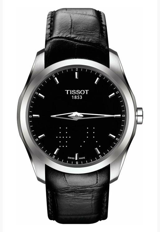 ساعة تيسو كوتورييه كوارتز بسوار جلدي للرجال - T035.446.16.051.01.00