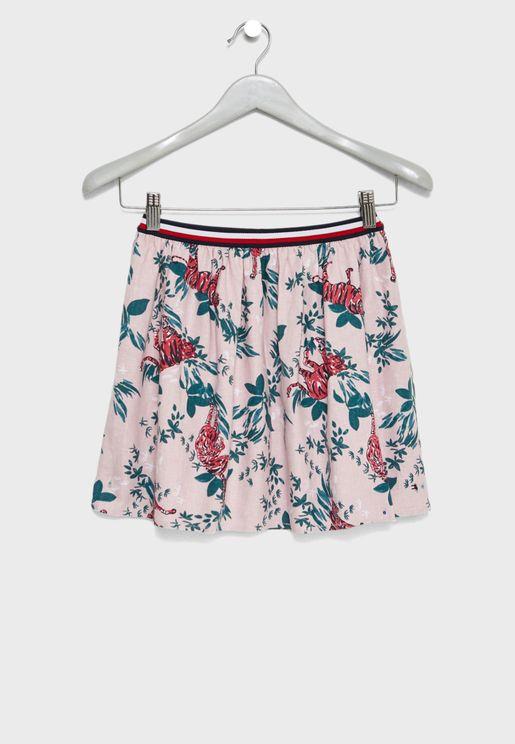 Teen Tiger Print Skirt