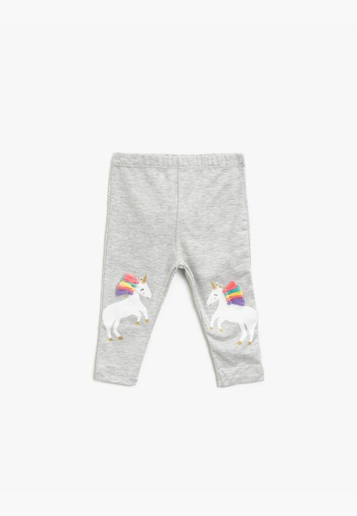 Unicorn Printed Tasseled Leggings