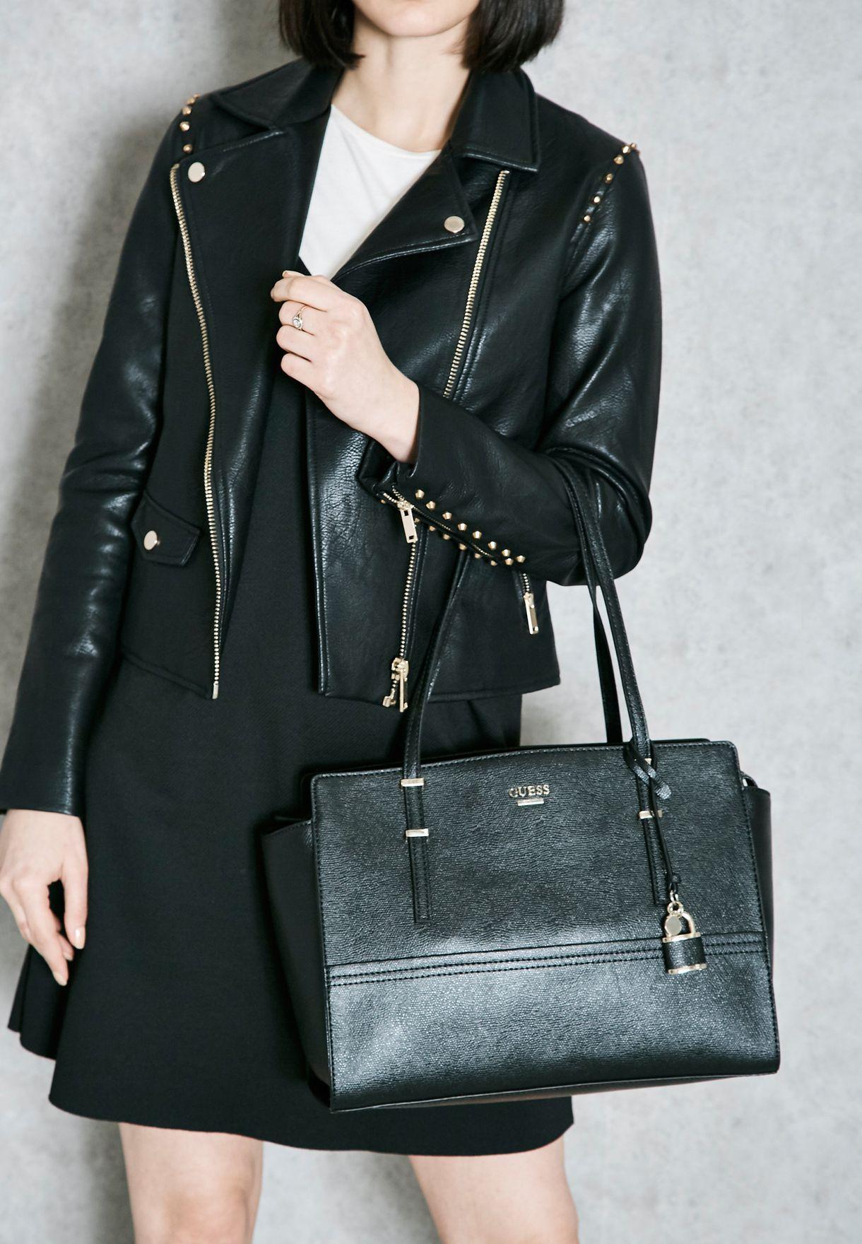 Shop Guess black Large Devyn Satchel VG642110 for Women in Saudi 265d87073a