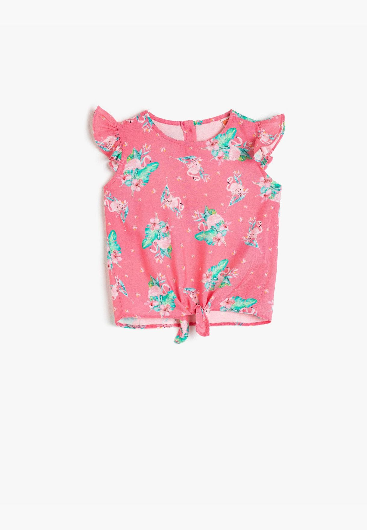 Printed Boat Neck Frilled Blouse