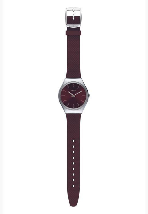 ساعة سواتش جلد ايرونى 38 بسوار سيليكون للجنسين - SYXS120