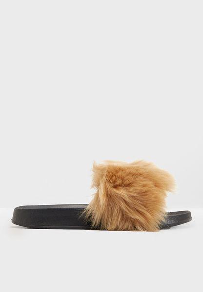 Faux Fur Flat Sandal