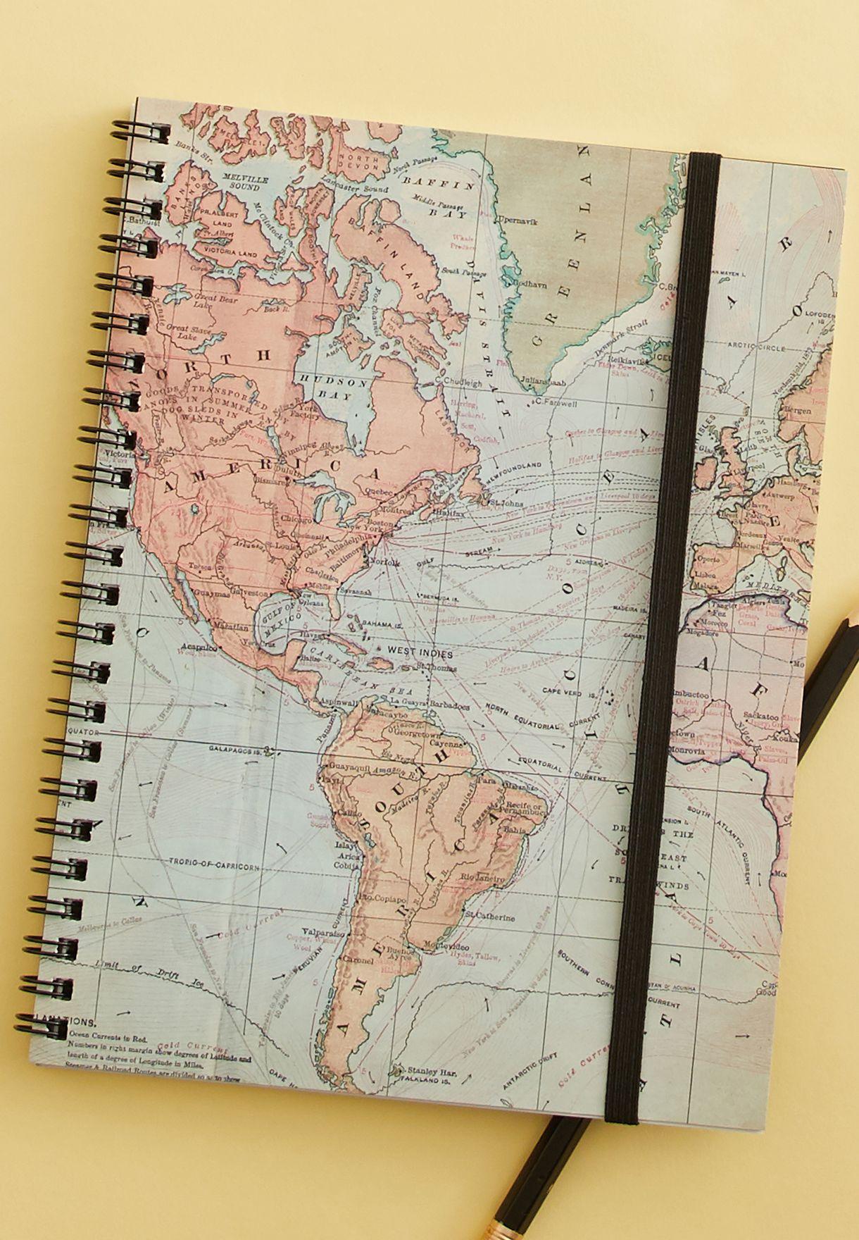 دفتر ملاحظات A5 بطباعة خريطة العالم
