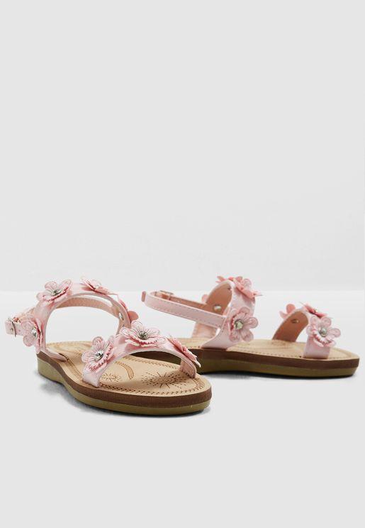 Kids Flower Applique Sandal