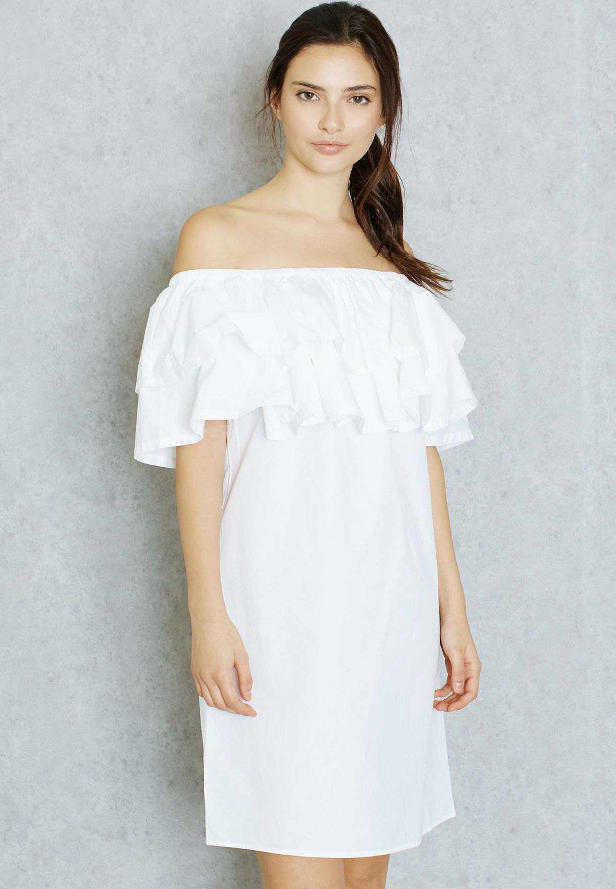 0ae4e4b0680c Shop Noisy May white Off Shoulder Frill Dress 10172017 for Women in ...