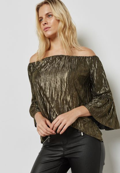 Shimmer Pleated Bardot Top
