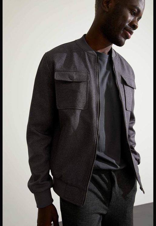 Man Slim Fit Bomber Coat