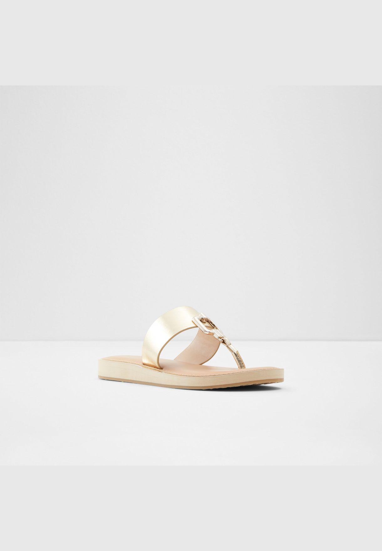ALDO TATYX Women Synthetic Leather Sandal Flat Heel Euro 42.5 Gold