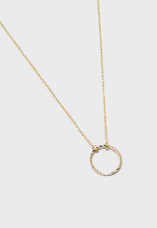 Circle Cut Out Ditsy Necklace