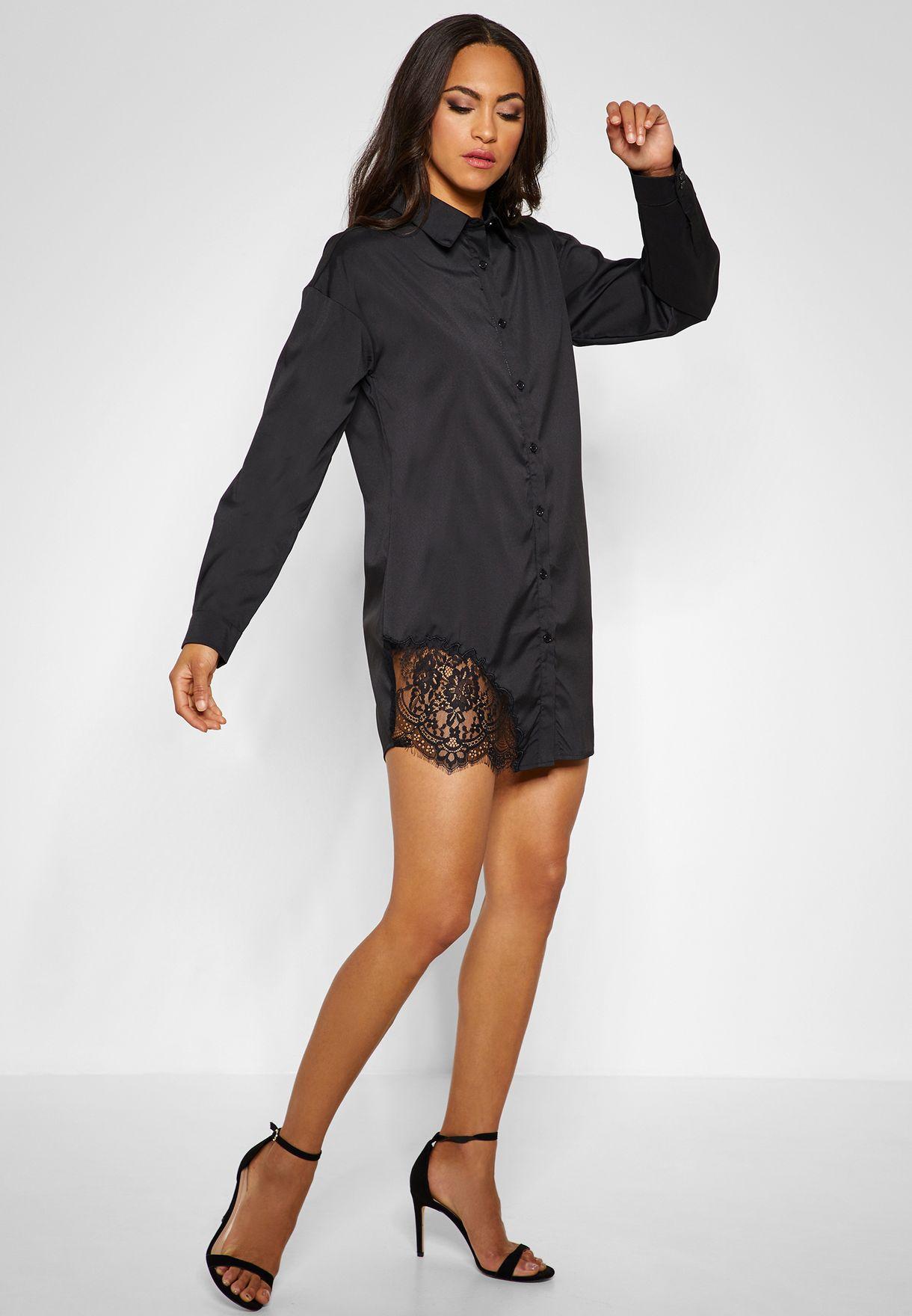 Lace Detail Long Sleeve Shirt Dress