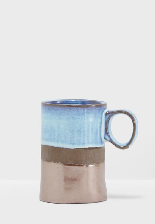 Blue & Copper Glazed Mini Mug 9x7cm