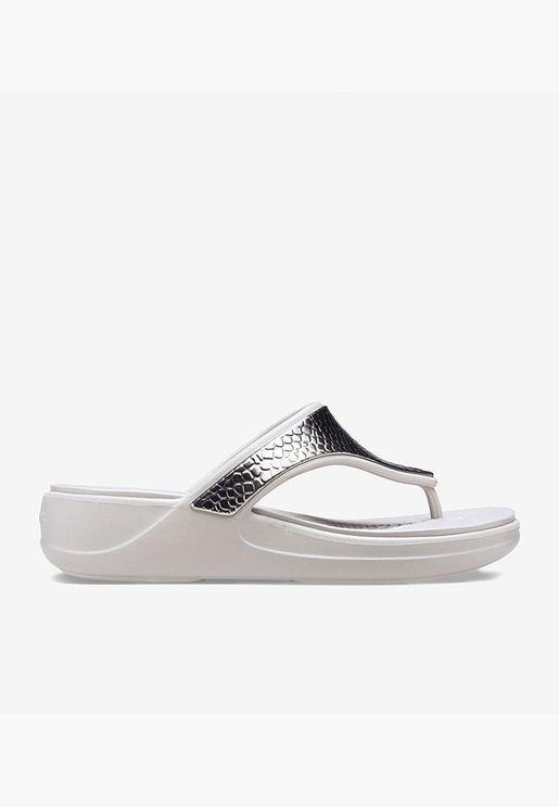 womens crocs monterey metalli-silver