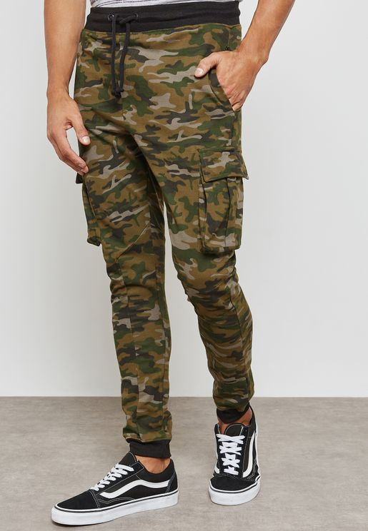 Pocket Detail Camo Sweatpants