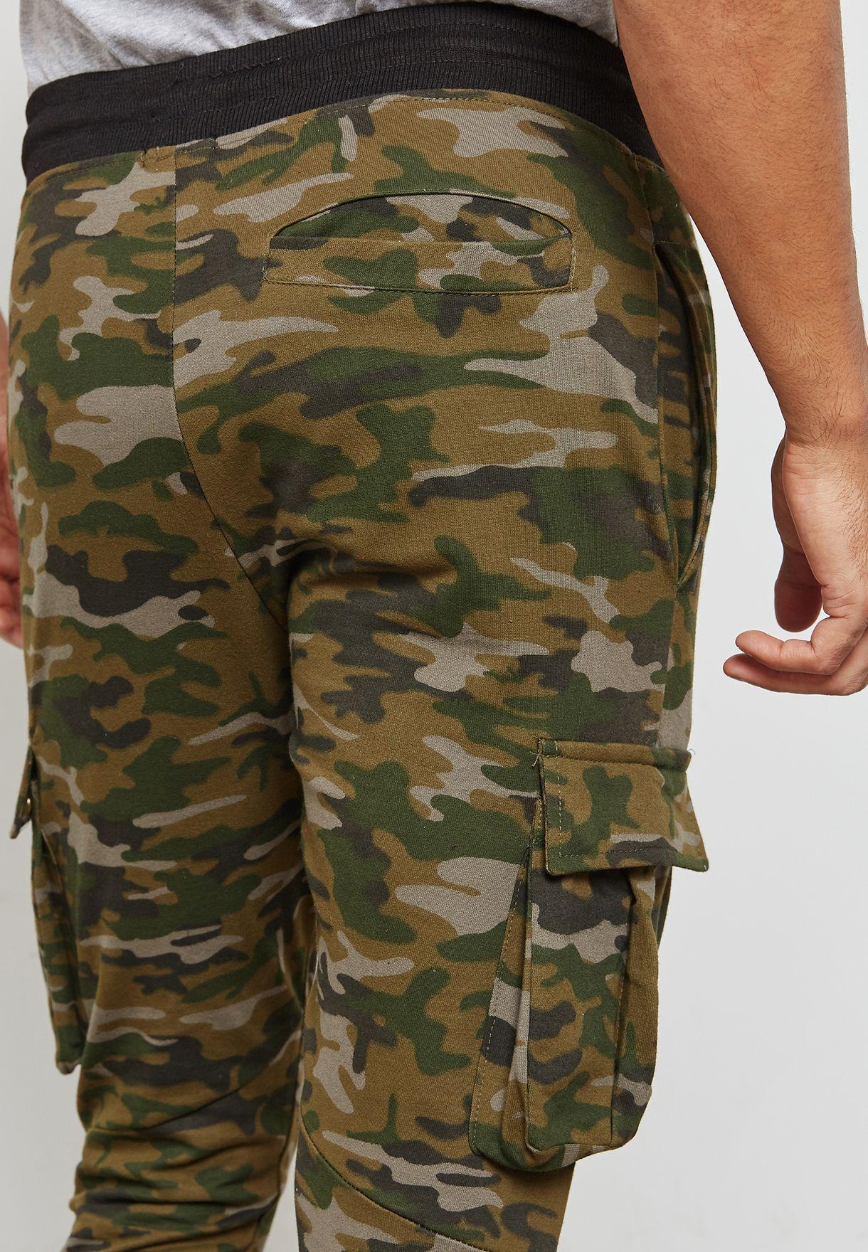 Pocket Detail Camo Sweatpants
