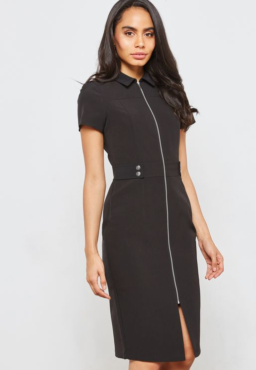 Full Zip Front Split Dress