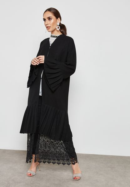 Pleated Trim Dantel Hem Abaya