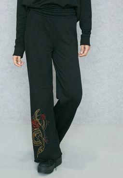 Wide Leg Embroidered Detail Pyjama