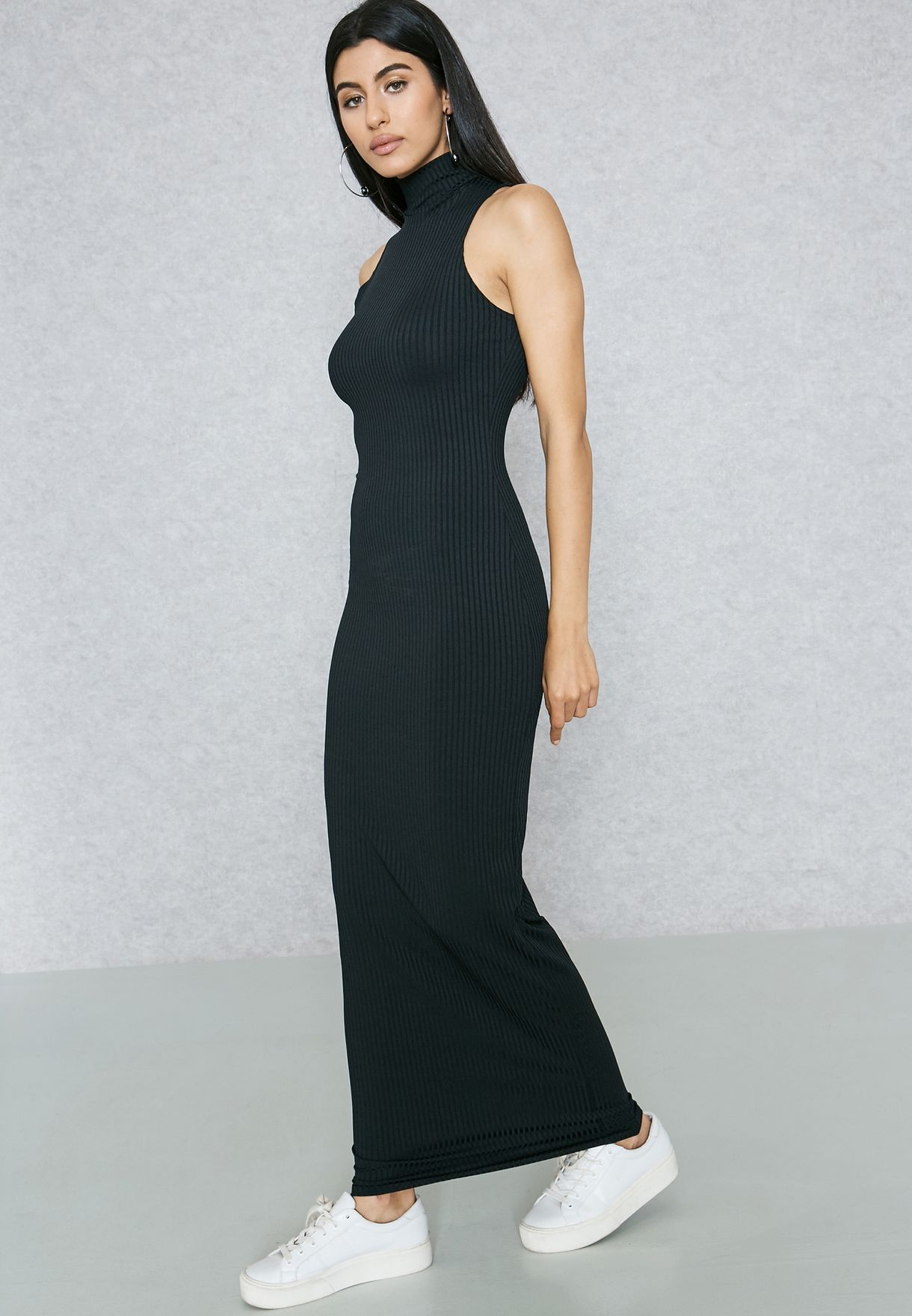 98105943016 Shop Ginger Basics black Ribbed High Neck Maxi Dress M572 for Women ...