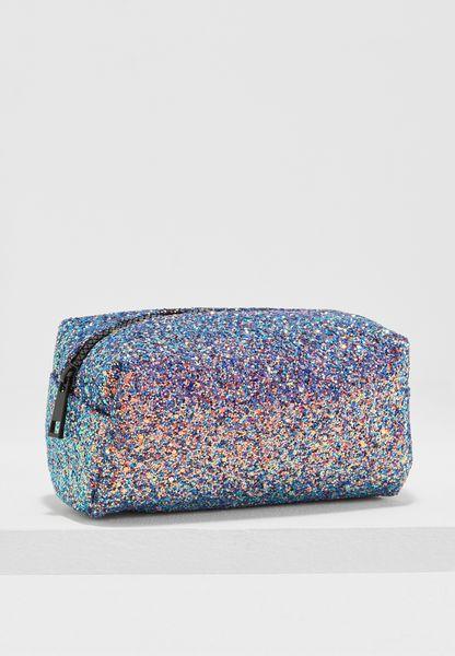 Glitter Half Zip Makeup Bag