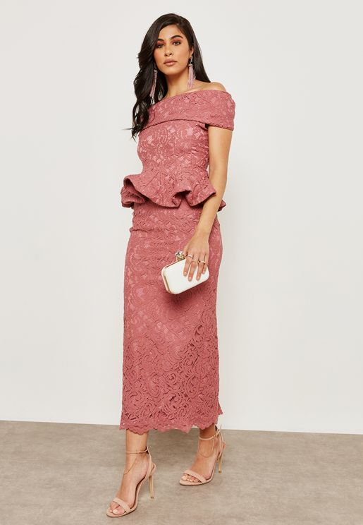 Bardot Lace Peplum Dress