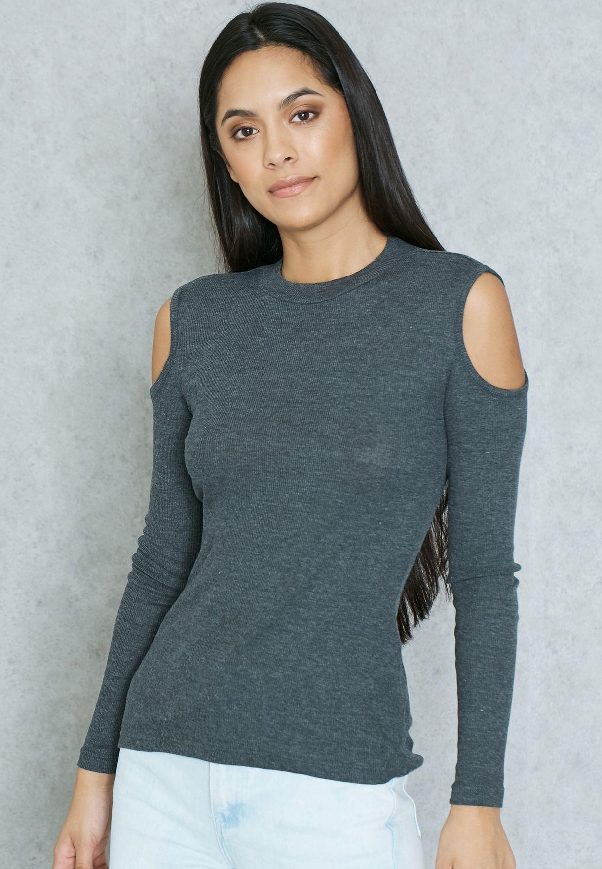 2481c65f13f48 Shop Jacqueline De Yong grey Cold Shoulder T-Shirt for Women in UAE ...