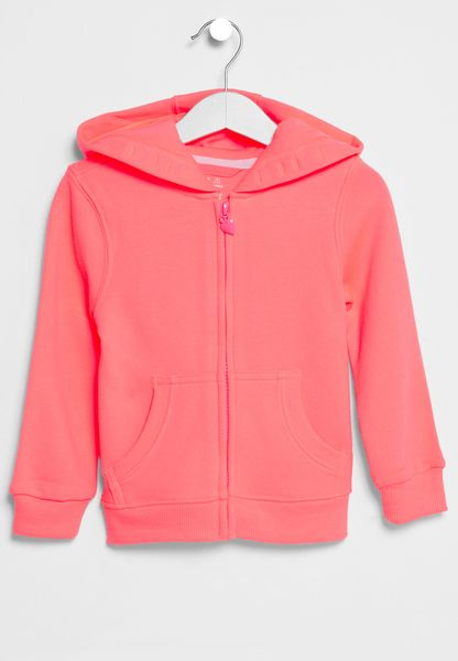 Little Neon Zip Through Hoodie