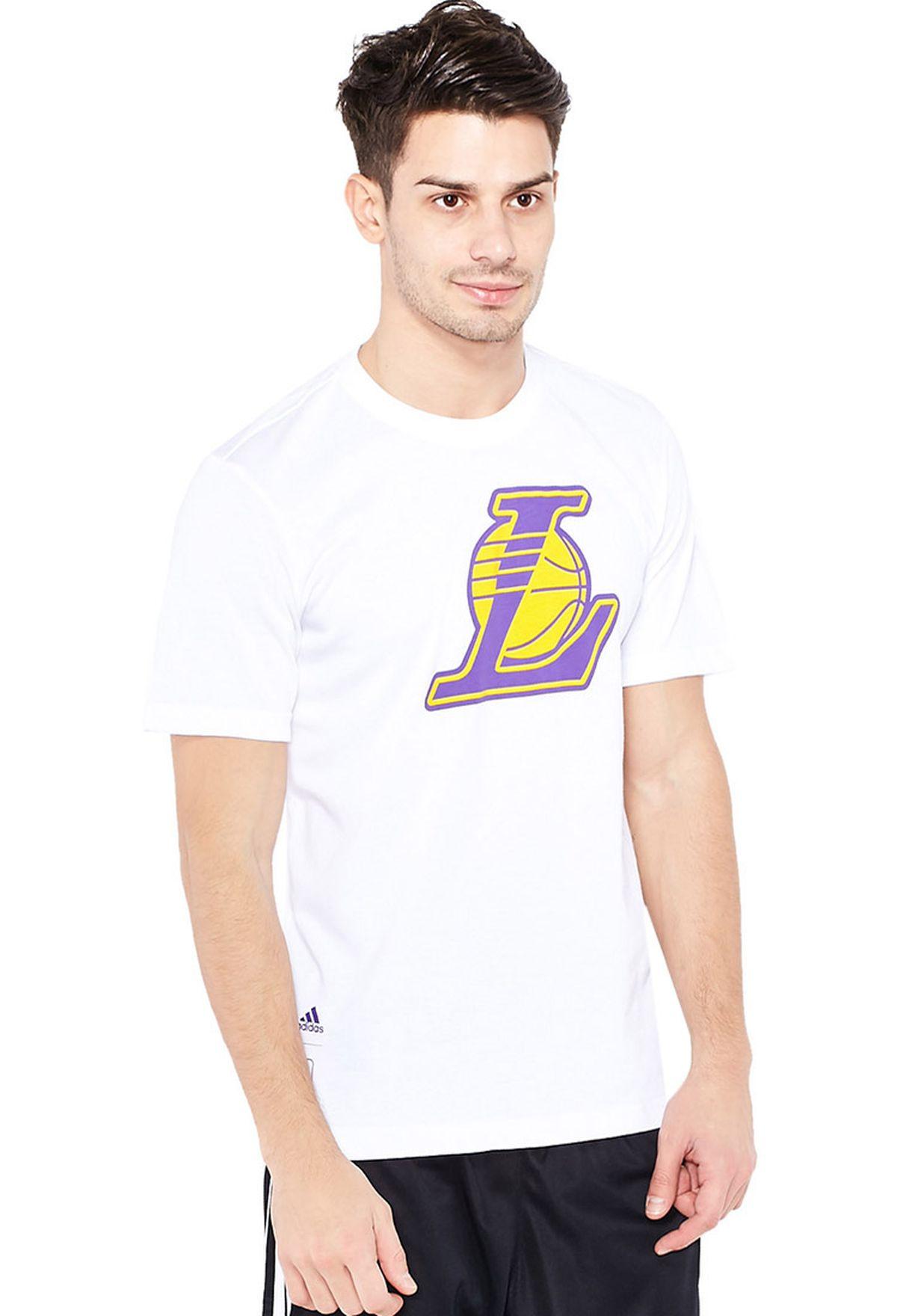 Ad476at98imb اشتري اديداس أبيض تيشيرت بشعار لوس انجلوس ليكرز لل