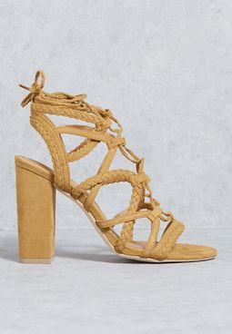 Braided Strappy Block Heel