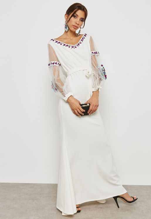 Embroidered Mesh Sleeve Dress