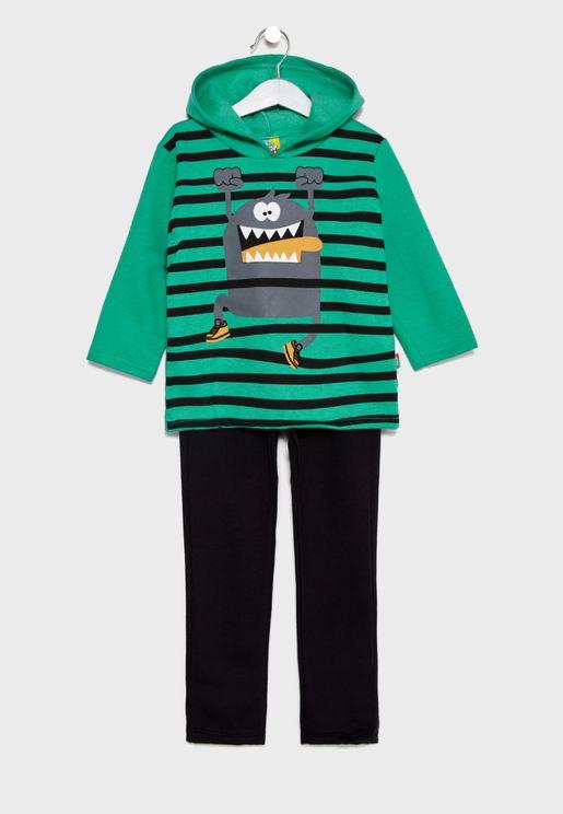 Little Hooded Sweatshirt + Sweatpants Set