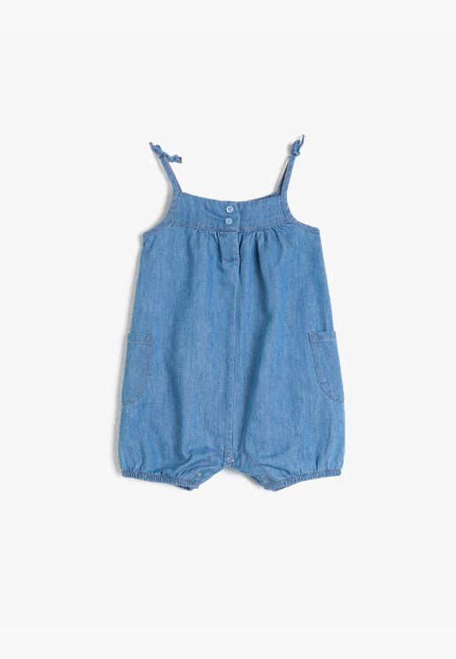 Cotton Strap Pocketed Jean Jumpsuit