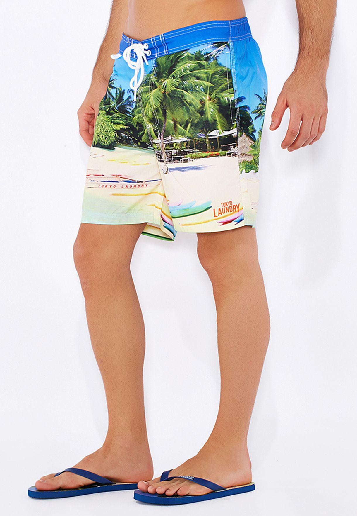 7d4d8a79c634 Shop Tokyo laundry prints Swim Shorts  amp  Flip Flop Set for Men in ...