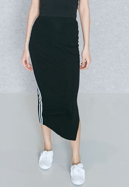 Contrast Striped Side Slit Maxi Skirt