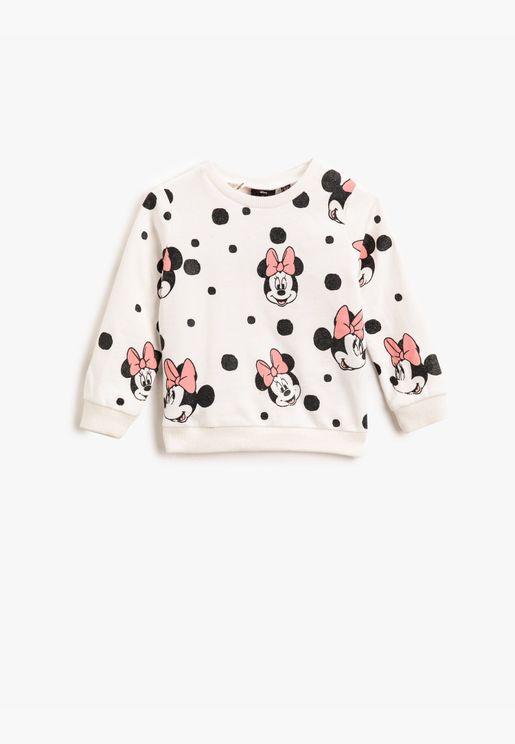 Minnie Mouse Licensed Printed Crew Neck Sweatshirt