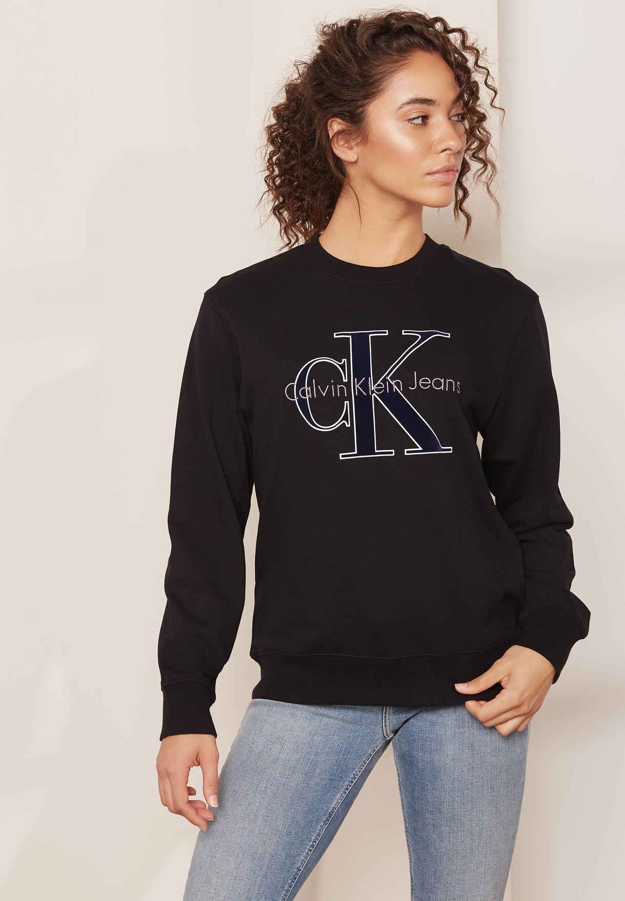 c1ec030967f Shop Calvin Klein Jeans black Logo Sweatshirt J20J206980 for Women ...