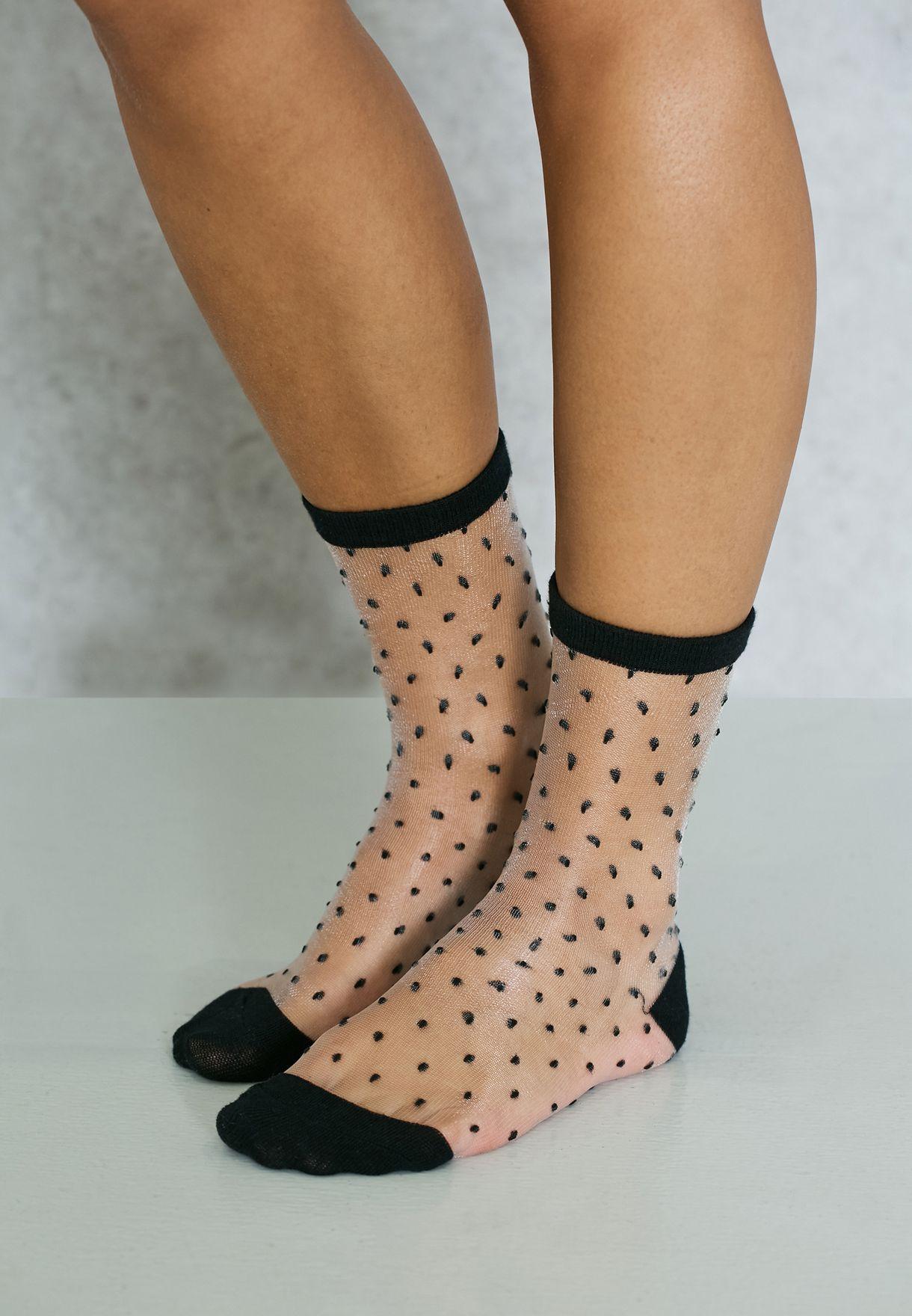 Patterned Mesh Socks