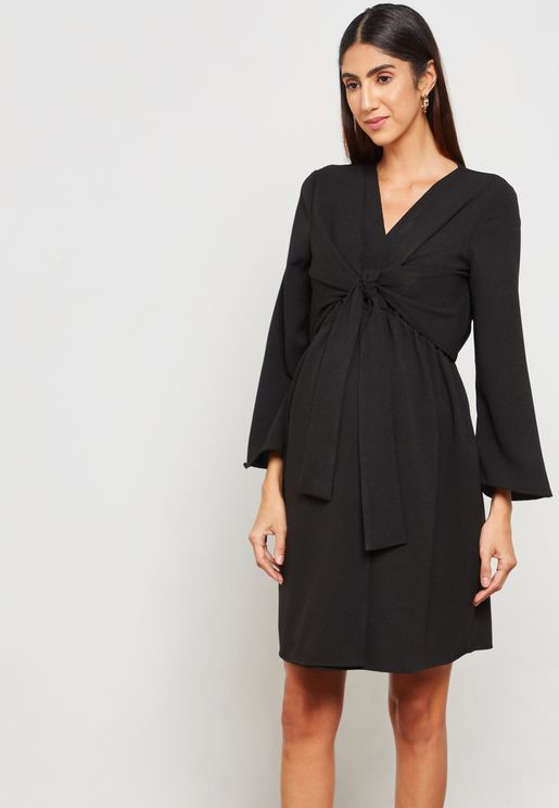 Front Twisted Wide Sleeve Dress