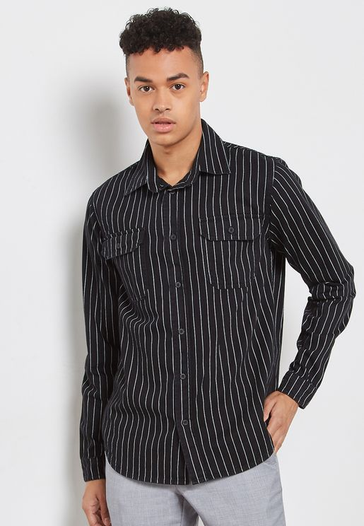 Striped Regular Fit Denim Shirt
