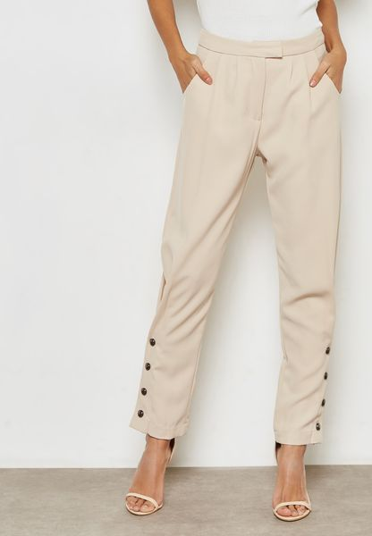 High Waisted Button Side Pants