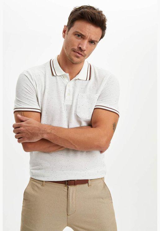 Polo Neck Short Sleeve Pocket Slim Fit T-Shirt beige