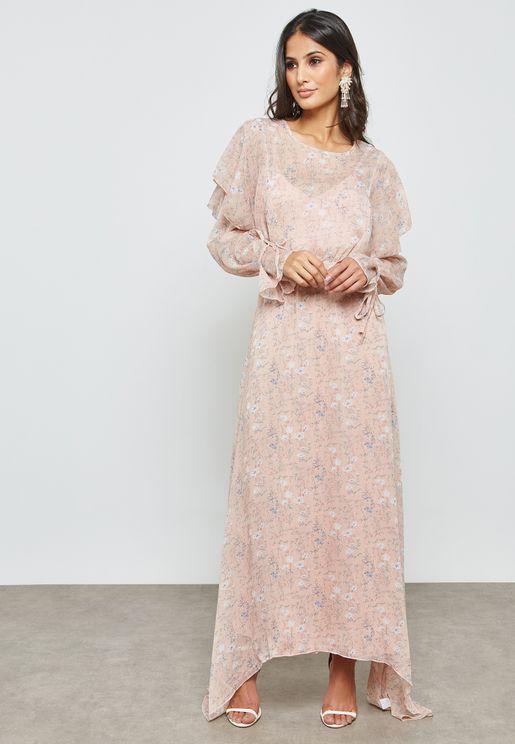 فستان ماكسي بطباعة ازهار