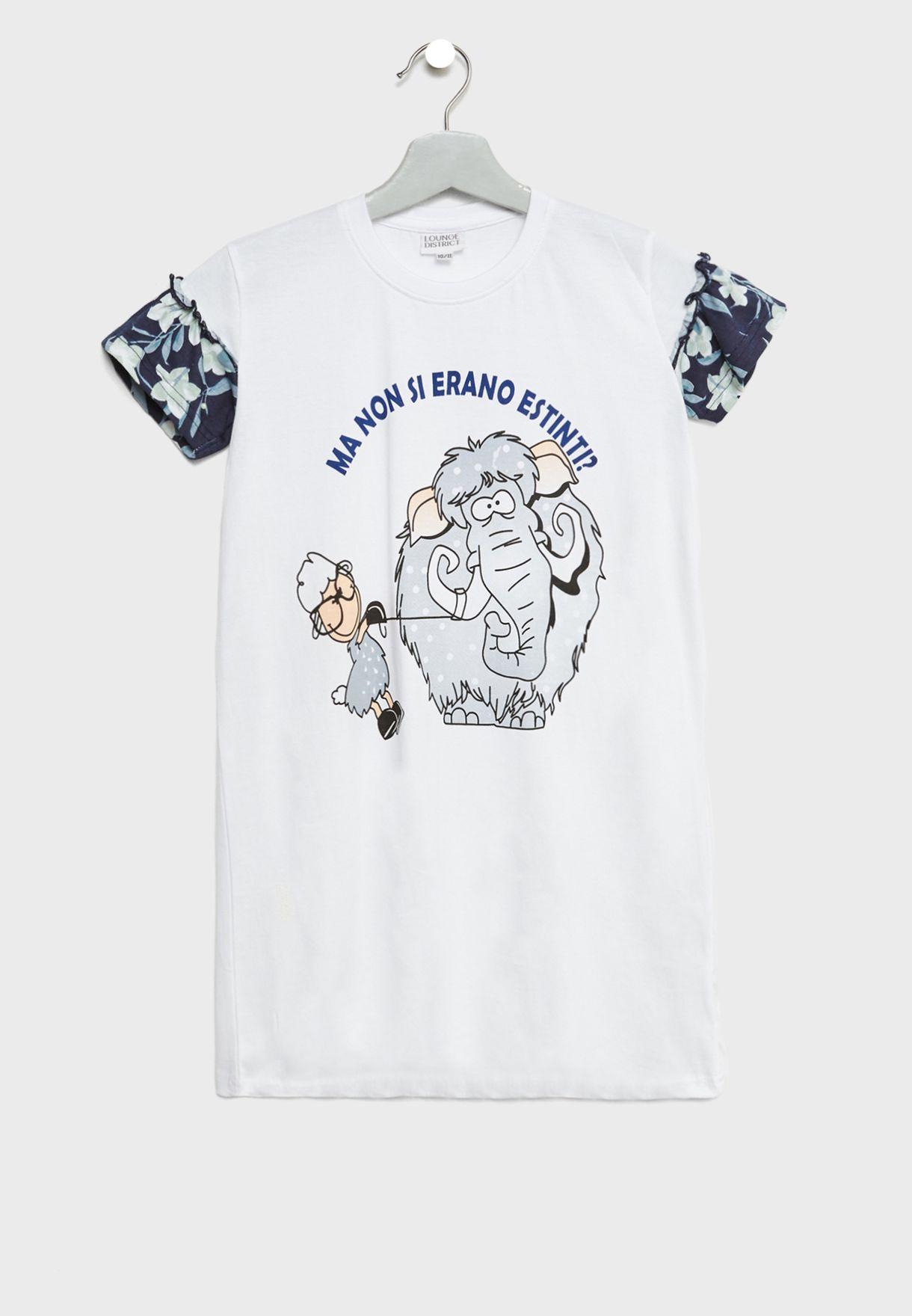 قميص نوم اطفال بطبعة فيل
