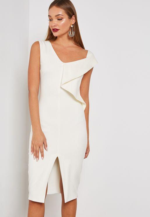 Front Split One Shoulder Dress