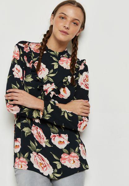 Floral Print Ruffle Top